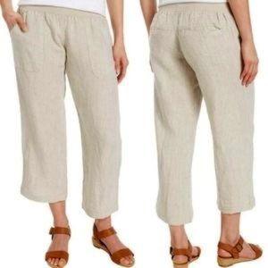 Allen Allen 100% Linen Pull On Crop Pants Small
